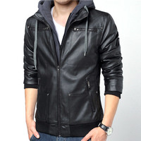 Urban Men Fashion Design Zip Leather Jacket with Hood
