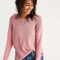 AEO Mixed Stitch Cable Sweater, Pink