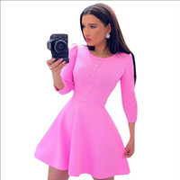 Summer Hot Sale Round-neck Three-quarter Sleeve Shaped Women's Fashion One Piece Dress [4919134532]