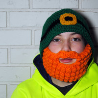 Leprechaun Beard Beanie, St Patricks Day Hat with Beard, Crochet Beard Hat, Orange Beard, Green Beanie, Baby - Adult, Leprechaun Beard Set
