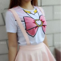 Lolita Kawaii Cosplay Costume Sailor Moon Crystal Fake Bowknot Short T shirt new T-shirt Woman Clothing one piece