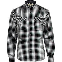 River Island MensDark green check military shirt