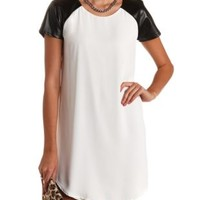Faux Leather Raglan Sleeve Shift Dress - Black/White