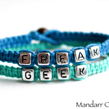 Freak and Geek Couples or Best Friends Bracelets, Set of Two, Teal and Turquoise Handmade Hemp Jewelry, Funny Quirky Valentines Day Gift