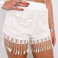 White Mint Green Pink Floral Lace Crochet Fringe Shorts