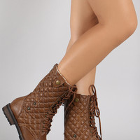 Quilted Combat Lug Shearling Boots