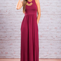 Play By The Rules Maxi Dress, Burgundy