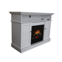 White Electric Fireplace Space Heater TV Stand Cabinet