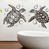 Wall Decal Vinyl Sticker Decals Turtle Tortoise Tortoiseshell Ocean Sea Bathroom Wall Decor Wall Stickers Home Decor Art Bedroom Design Interior Mural C413