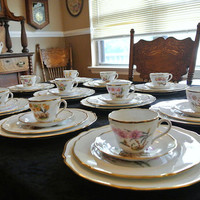 RARE Antique Spode Copeland England J Price Artist Signed Orchid Gold Trim China Dishes Dinnerware Plates Cups Saucers Set English Porcelain