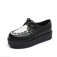 Spring Solid Casual Women Shoes Flat Platform Lace-Up Creepers Ladies Shoes Round Toe Girls Shoes