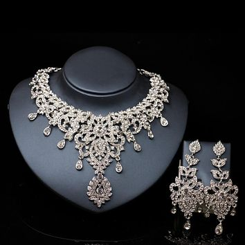 Austrian crystal necklace and earrings jewelry
