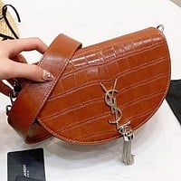 YSL New fashion elephant more letter leather shoulder bag handbag Brown