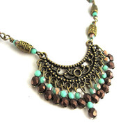 Turquoise and Bronze Beaded Boho Necklace - Bohemian Chandelier Necklace - Statement Necklace