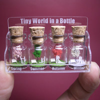 Tiny trees with a couple & family in four seasons in a tiny bottle  ver.3 -new design-
