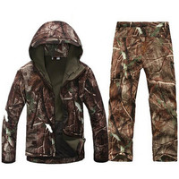 Tactical Softshell Men Army Sport Waterproof Hunting Clothes Set Military Jacket + Pants Camouflage Outdoor Jacket Suit