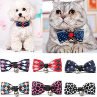 Hot Sales Multi Colors Lovely Bow Cats Dog Tie Dogs Bowtie Collar Pet Supplies Bell Necktie Collar 1Pcs