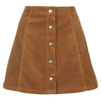 PETITE Cord Button Front A-Line Skirt - Tan