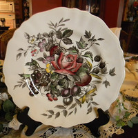 Black Polychrome Transferware Plate with Hand Painted Roses Cherries Grapes Flowers Raspberries