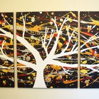 "View: triptych 3 panel wall art colorful images ""The White Tree"" 3 panel canvas wall abstract canvas pop abstraction 48 x 20 "" other sizes available 