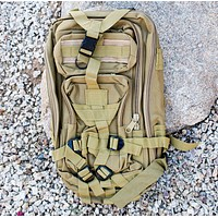 Oversized Military Tactical Backpack in Coyote Tan