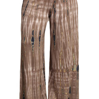 Womens PLUS SIZE Brown & Teal HAND DYED Tie Dye Palazzo Pants