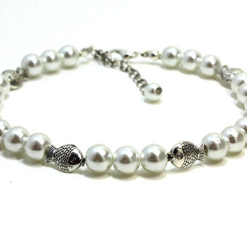 Silver Fish Cat Collar. Tibetian Silver Fish Charm with White Pearl Dog Collar. White Pearl Kitten Collar with Fish Bead. Puppy Collar