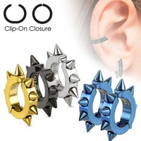 U2U® Jewelry Mens Pair of 316L Surgical Stainless Steel IP Oval Hoop Non-Piercing Clip On Earrings with Spikes