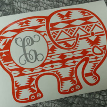 Elephant Decal | Decal | Car monogram | Monogram | Sticker | Personalize | Car Decal | Preppy | Vinyl Decal | Hipster | Animal decal