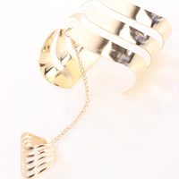Gold Arm Cuff Chain Ring Bracelet