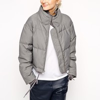 ASOS WHITE Grey Marl Quilted Jacket