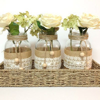 4 piece purlap and lace covered mason jar vases - home decor, wedding decor, country style vases, unique decor