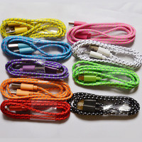 3ft/1M Durable Braided Micro USB Charger Data Sync Cable Cord For Samsung Galaxy HTC Android phones 9 Colors Available