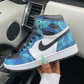 NIKE Air Jordan 1 AJ1 Tie dye women's shoes Aurora black blue lake blue men's basketball shoes