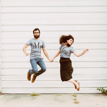 Mr. and Mrs. Tshirt set, wedding gift, his and hers t shirts, bride and groom gift for couples by Blackbird Tees
