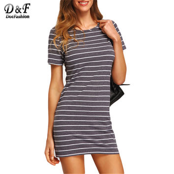 Dotfashion Ladies Summer Style Grey White Stripe Casual T-shirt Dresses New Arrival Womens Crew Neck Straight Dress