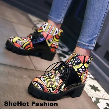 Women Casual Printed Round Toe Zip Lace Up PU Leather Ankle Boots