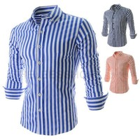 Winter Long Sleeve Stripes Slim Men Shirt [6544489987]
