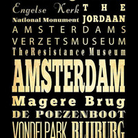 Amsterdam, Netherlands, Typography Art Poster / Bus/ Transit / Subway Roll Art 18X24-Amsterdam's Attractions Wall Art Decoration-LHA-228