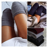 4 Colors Ladies Sexy Winter Socks Soft Cable Knit Over Knee Long Women  Thigh-High Cotton Warm Socks