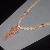 Hand Blown Glass Tobacco Pipe Hemp Necklace  by oneofakindhemp