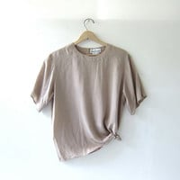 90s taupe silk shirt. cropped silk blouse. oversized nude silk shirt. minimalist top
