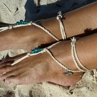 Braided beaded butterfly charm barefoot sandals, Yoga shoes Crochet beach wedding Boho anklet Eco-friendly natural cotton Caribbean