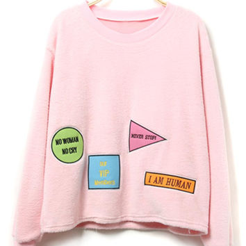 Pink Letter Pattern Long Sleeve Sweatshirt