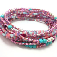 Seed bead wrap stretch bracelets, stacking, beaded, boho anklet, bohemian, stretchy stackable multi strand, pink purple turquoise red agate