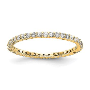 1/2ct Natural Diamond Wedding Ring Womens Stackable Eternity Band 14k Yellow Gold