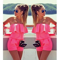 Woman Jumpsuit Summer Fashion Slash Neck Flounced Womens Short Jumpsuits Candy Color Sexy Rompers
