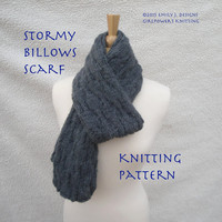 Stormy Billows Scarf Knitting Pattern, Men or Women, Undulating Cables, Knit & Purl Ribs, Worsted Yarn