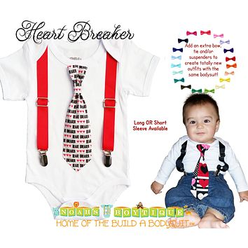 Valentines Outfit Baby Boy Heart Breaker Tie and Suspenders