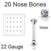 20 Pack 925 Sterling Silver Nose Bones Rings 1mm Clear stone 22G